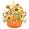 Pumpkin Filled with Sunflowers Flour Sack Kitchen Towel Cotton
