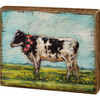 Cow with Flower Wreath Farmhouse Block Sign Wood Shelf Sitter