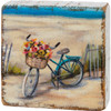 Bicycle On the Beach Block Sign Wood Shelf Sitter