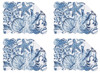 Blue Coast Shells and Starfish Placemats Set of 4 Quilted Cotton