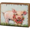 Piglet Wearing Wreath of Flowers Farmhouse Block Sign Wood