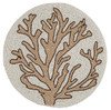 Tan on White Coral Hand Beaded Round Placemat or Table Charger Plate