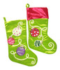 19 Inch Lime Green and Pink Ornament Velvet Christmas Holiday Stockings Set of 2