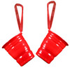 Bright Red Party Cups Ceramic Holiday Ornaments Set of 2