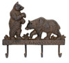 Large Brown Bears Key Hooks Wall Plaque Cast Iron