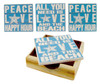 Peace Love Beach Happy Hour All You Need Tile Coasters and Wood Tray Set