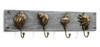 Antiqued Brass Look Seashells On Distressed Wood Wall Hooks 20 Inch Decor