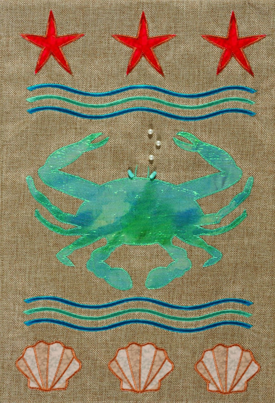 Blue Crab Starfish and Shells 12 x 18 Double Sided Appliqued Garden Flag