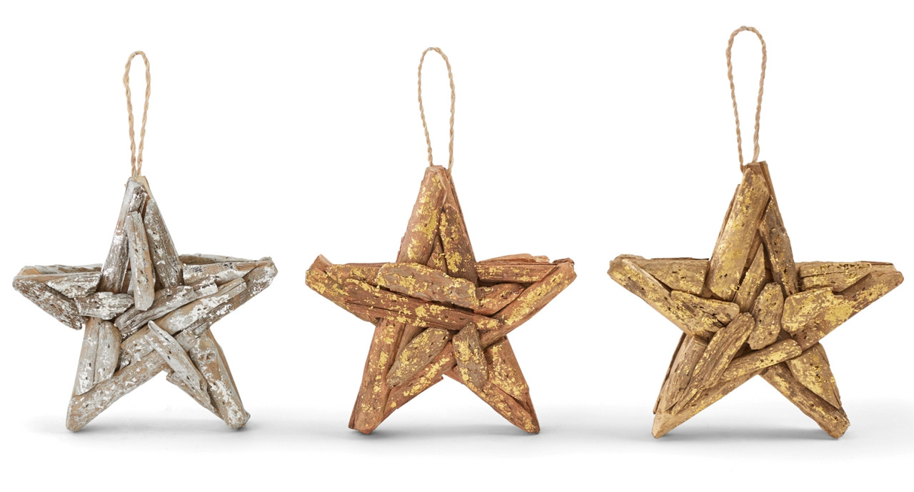 Copper Christmas Ornaments.Mud Pie Driftwood Copper Gold And Silver Foil Stars Holiday Ornaments Set Of 3