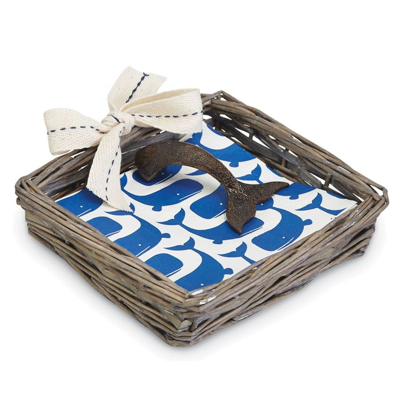 Mud Pie Under the Influence Paper Cocktail Napkins with Seagrass Basket Set