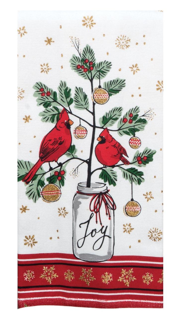 Christmas Cardinals Images.Christmas Cardinals Dual Purpose Kitchen Dish Terry Towel