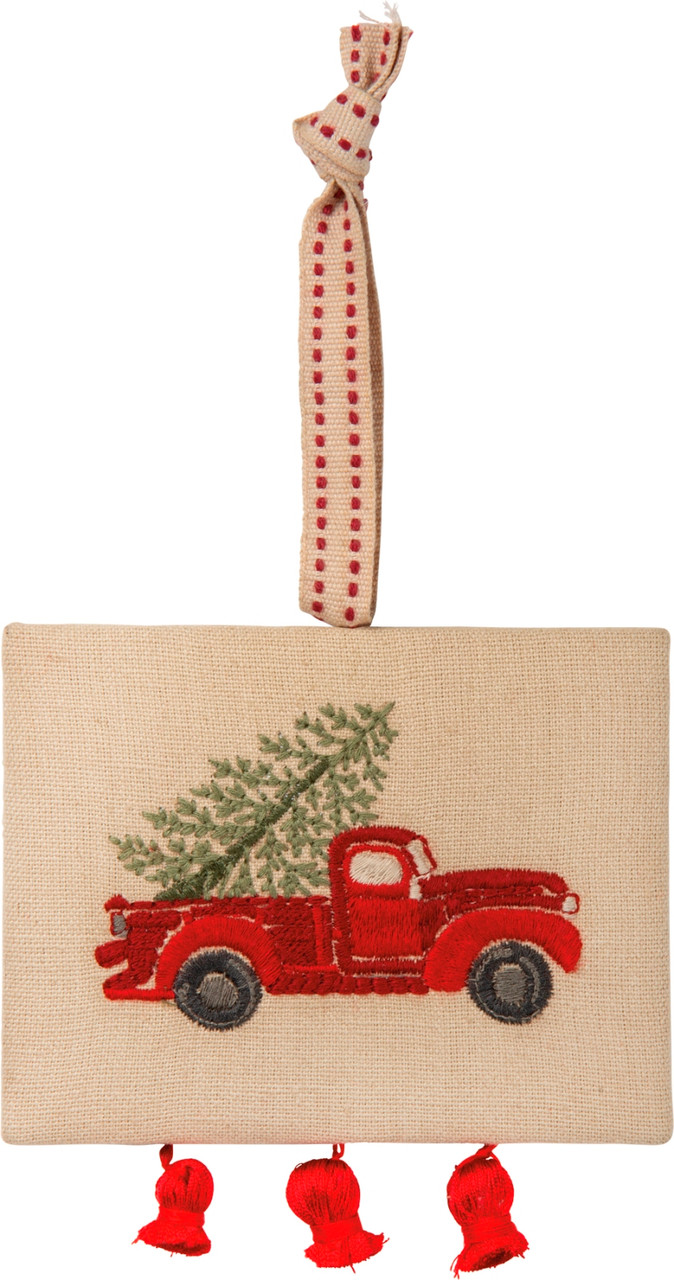 Tis The Season Red Pickup Truck Christmas Ornament Gift Card Holder