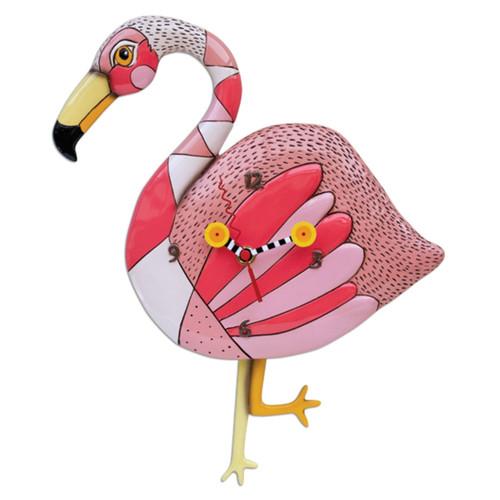 Allen Designs Pink Flamingo Crazy Legs Battery Wall Clock with Penduulum