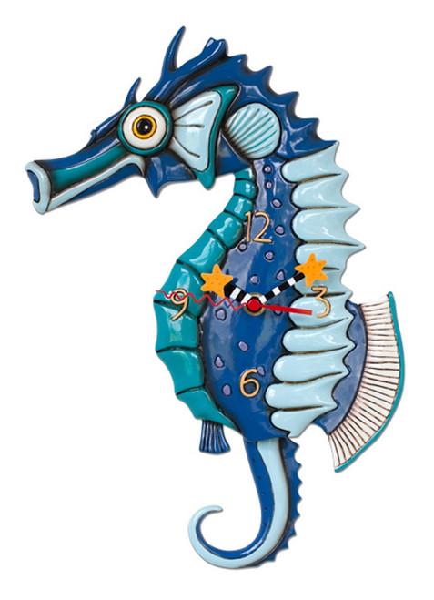 Allen Designs Blue Salty Seahorse Battery Wall Clock with Pendulum