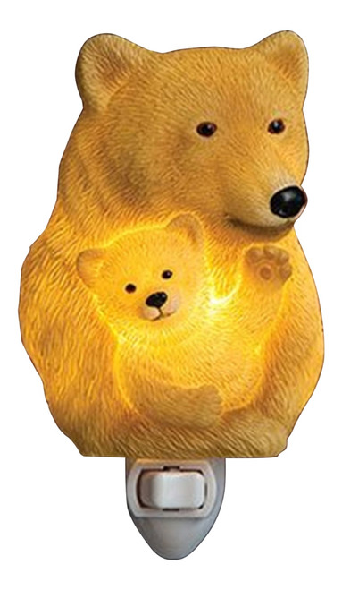 Sculpted Mama Momma Bear With Her Baby Cub Marble Night Light