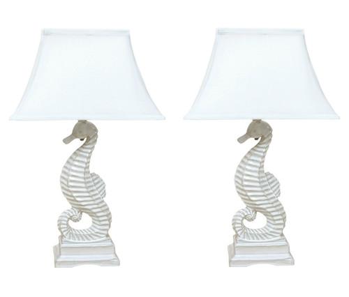 Coastal White Seahorse Table Lamp Ceramic 22 Inch Set of 2
