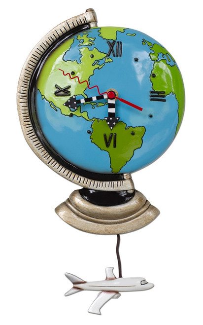 Allen Designs Around the World Blue Globe Wall Clock and Airplane Pendulum
