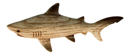 Brown Carved Woodgrain Shark Tabletop Figurine 8 Inches Resin