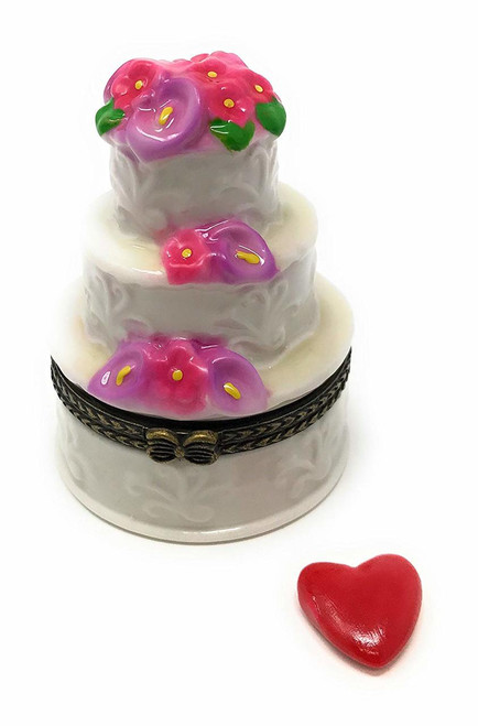 Bakers Dream Elegant Three Layer Wedding Cake Hinged Porcelain Trinket Box