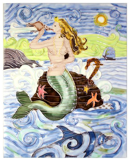 Coastal Mermaid Ocean Princess 11 X 14 Inch Ceramic Tile