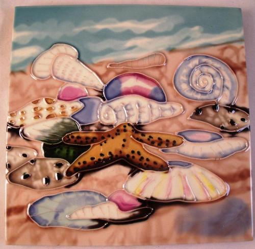 Coastal Beach Scene Starfish Shells 6x6 Ceramic Tile
