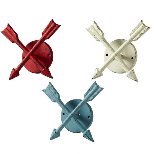 Crossed Directional Arrows Wall Hooks  Set of 3 Red White and Blue 5.75 Inches