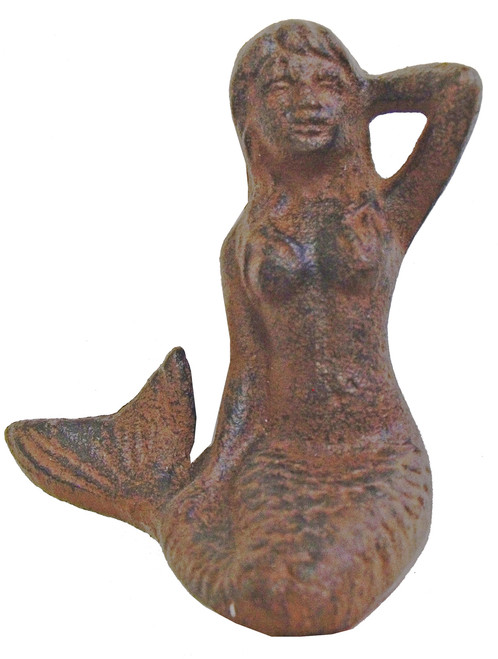 Cast Iron Nautical Repro Sitting Mermaid Figurine Rust