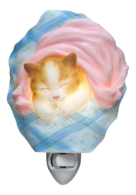 Sleepy Kitten Night Light Cat Wrapped in Blue and Pink Blanket