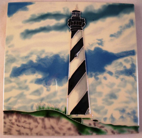 Outer Banks Beach Cape Hatteras Lighthouse 4 X 4 Inch Ceramic Square Tile