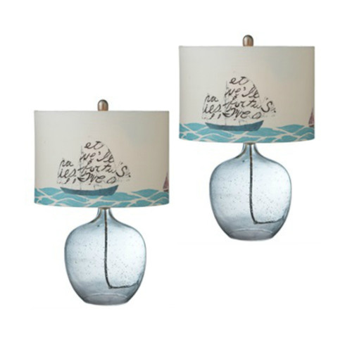 Printed Sailboat Shade With Glass Buoy Table Lamps Set of 2