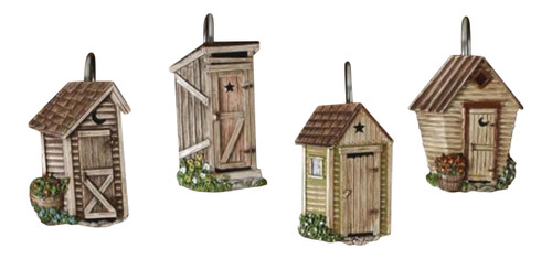 Outhouses Shower Curtain Hooks Country Rustic Bath Decor Mary B Decorative Art