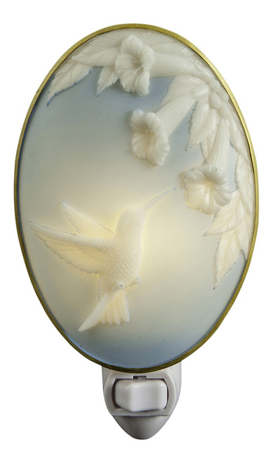 Blue and White Hummingbird Cameo Night Light Bonded Marble