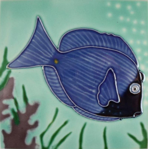 Blue Tang Tropical Coastal Reef Fish Ceramic 6 Inch Square Tile Art