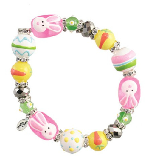 I Heart Easter Bunny Rhinestone Glass Beaded Kate and Macy Stretch Bracelet