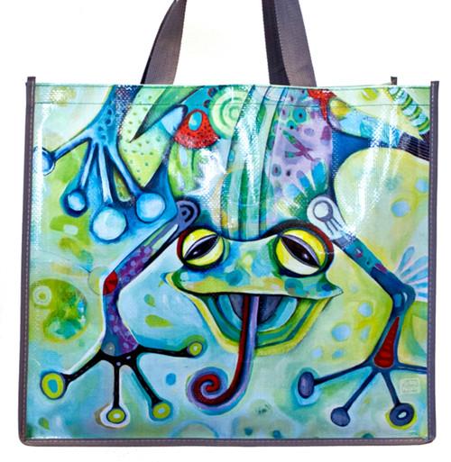 Allen Designs Smiling Frog 17 Inch Shopper Bag Beach Tote