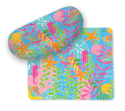 Palm Beach Preppy Sunglasses Case with Matching Microfiber Lens Cloth Cape Shore