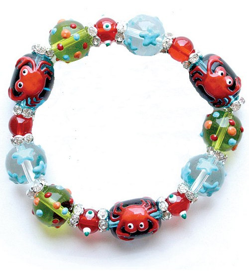 Crabby Chic Crab Tropical Rhinestone Glass Beaded Kate and Macy Stretch Bracelet