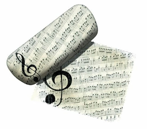 G Treble Clef Music Notes Eyeglass Reading Glasses Case and Lens Cloth