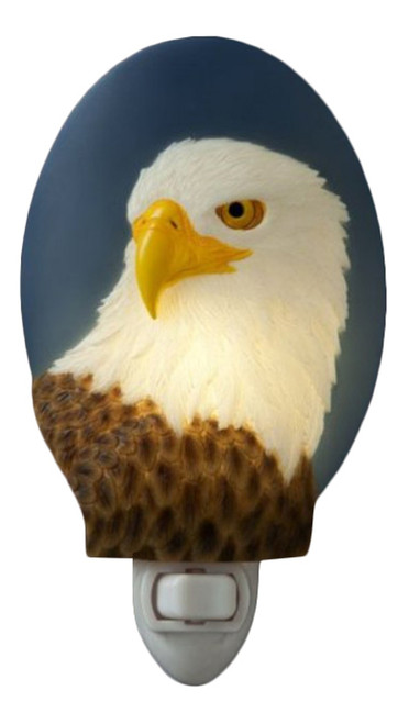 Patriotic Bald Eagle Hand Painted Night Light Electric