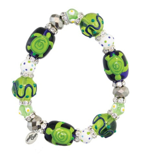 Green Sea Turtle Rhinestone Glass Beaded Kate and Macy Stretch Bracelet