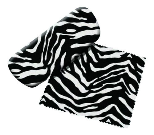 Zebra Stripes Reading Glasses Case and Lens Cloth Black and White