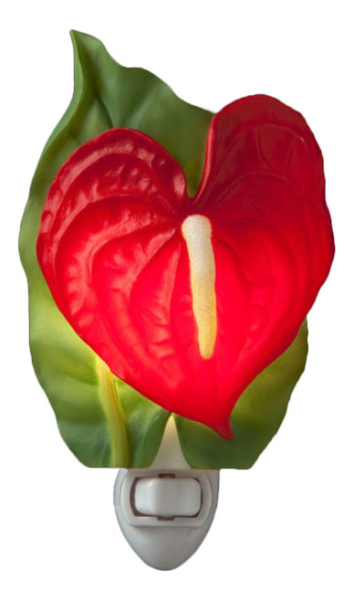 Red Beauty Antherium Tropical Floral Night Light