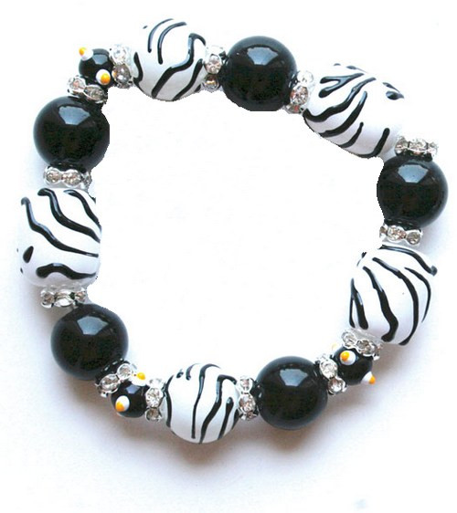 Zebra Animal Print Rhinestone Glass Beaded Kate and Macy Stretch Bracelet