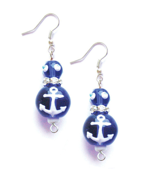 Sailor Blue Anchors Away Rhinestone Glass Beaded Kate and Macy Pierced Earrings