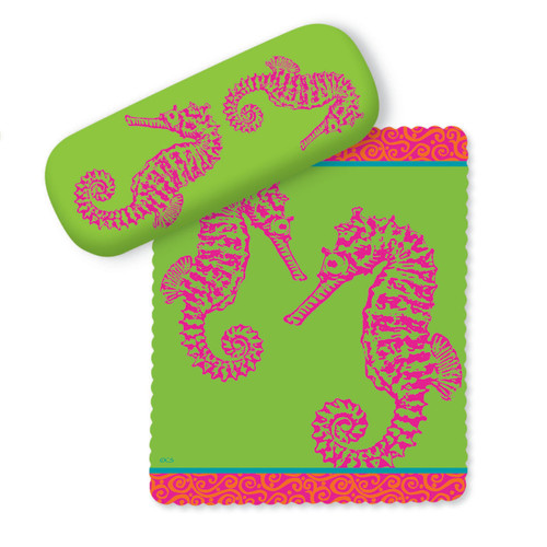 Pink Seahorses on Green Eye Glasses Case and Matching Lens Cloth