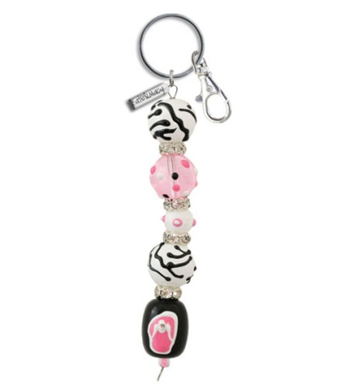 Pink Passion Flip Flops Rhinestone Glass Beaded Kate and Macy Keychain