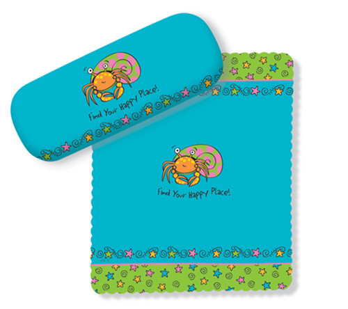 Find Your Happy Place Hermit Crab Eye Glasses Case and Lens Cloth
