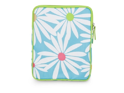 White Daisies on Baby Blue and Lime Green Tech Tablet or eReader Sleeve