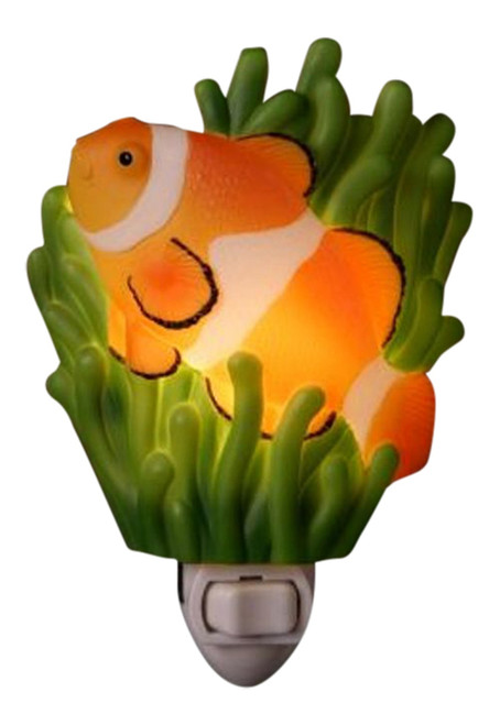 Tropical Ocean Reef Clown Fish Hand Painted Night Light