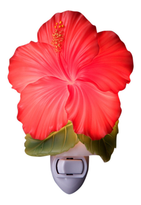 Tropical Red Hibiscus Floral Hand Painted Night Light